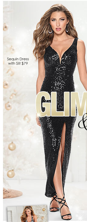 'Sequin Dress with Slit $79' from the web at 'http://www.venus.com/productimages/landing/clothing/20151112/sequin-dress.jpg'