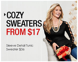 'Cozy Sweaters from $17. Sleeve Detail Tunic Sweater $36' from the web at 'http://www.venus.com/productimages/landing/clothing/20151112/tunic-sweater.jpg'