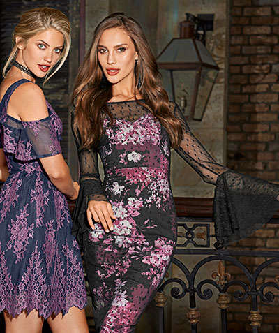 Girls in floral and lace detail dresses.