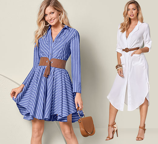One is blue pin striped with a leather belt,