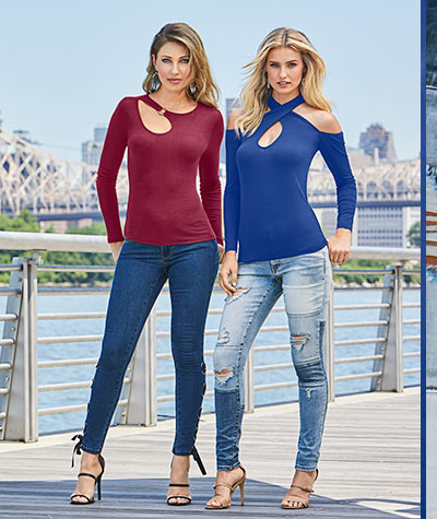 Two women in Cold Shoulder Tops and Jeans.