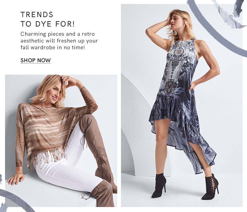 New & Now trends include teddy textures, tie dye, and statement sweaters.