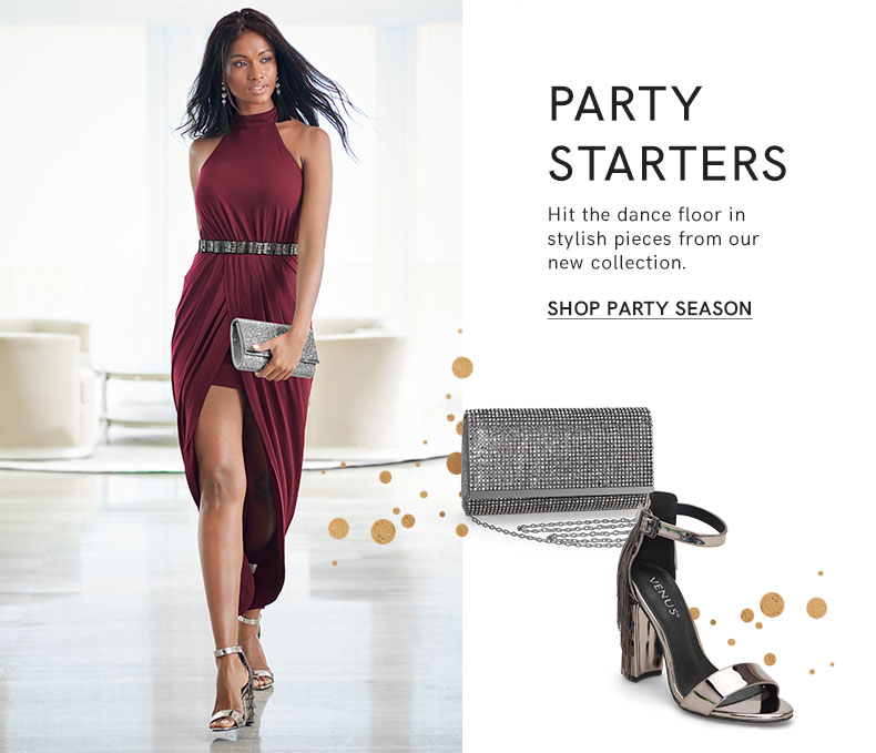 Party season is in full swing! High shine sequins, glistening rhinestones, and more festive fashions are featured.