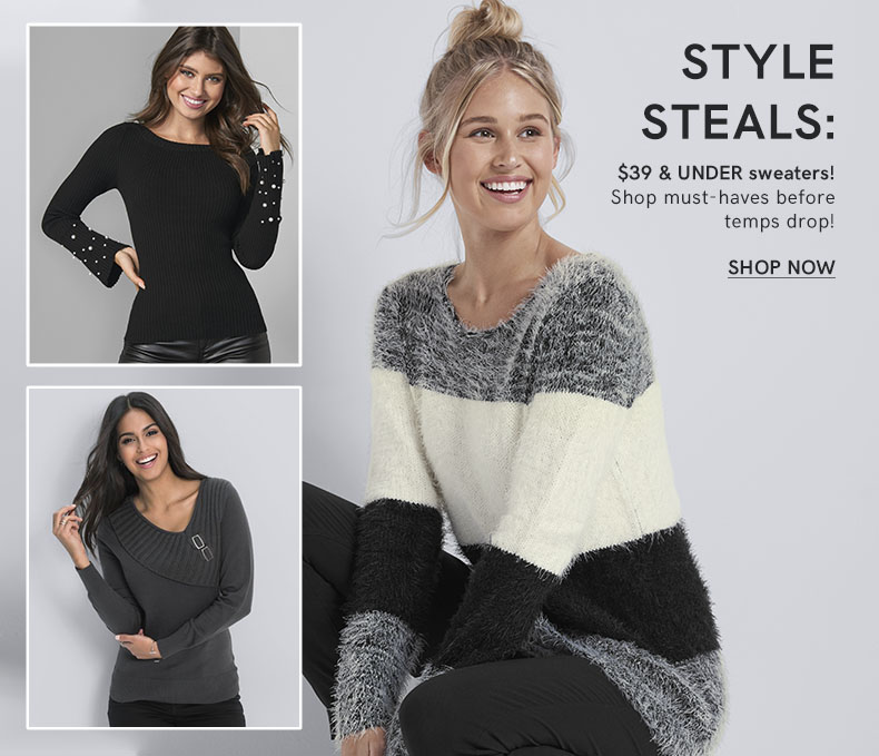 These must-have sweaters are $39 and under! Shop now before temps drop!