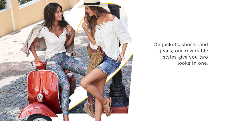 Reversable jackets, shorts, and jeans.