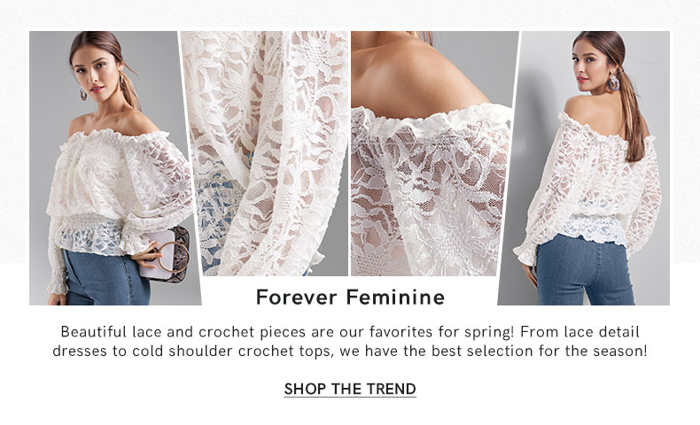 Beautiful lace and crochet pieces are our favorites for spring!