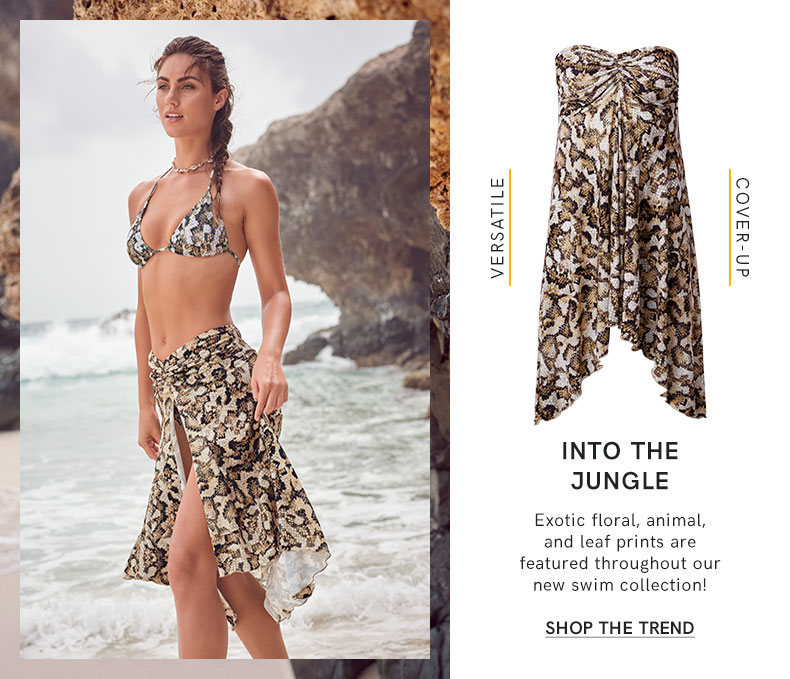Jungle floral, animal, and leaf prints are featured throughout our new swim collection!