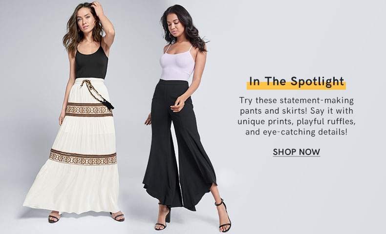 Try these statement making pants and skirts.