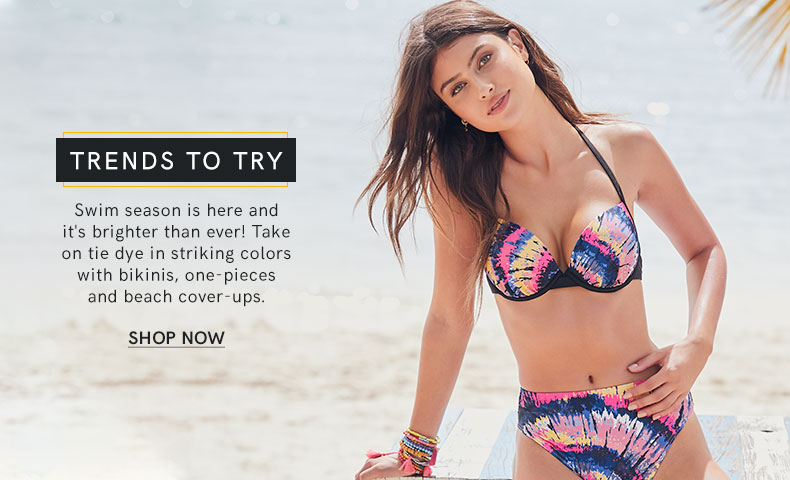 Take on Tie Dye swimwear in striking colors.