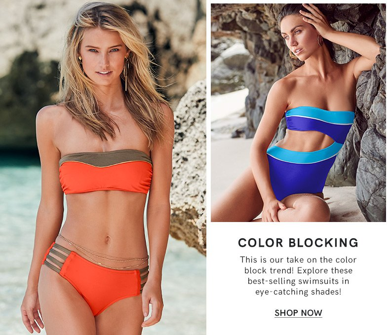 Discover our Color Block Swim Collection and make a fashion statement.