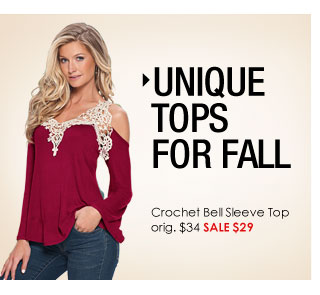 'Unique Tops for Fall. Crochet Bell Sleeve Top Sale $29' from the web at 'http://www.venus.com/productimages/landing/home/20151112/crochet-top.jpg'