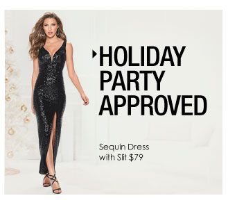 'Holiday Party Approved. Sequin Dress with Slit $79.' from the web at 'http://www.venus.com/productimages/landing/home/20151112/sequin-dress.jpg'
