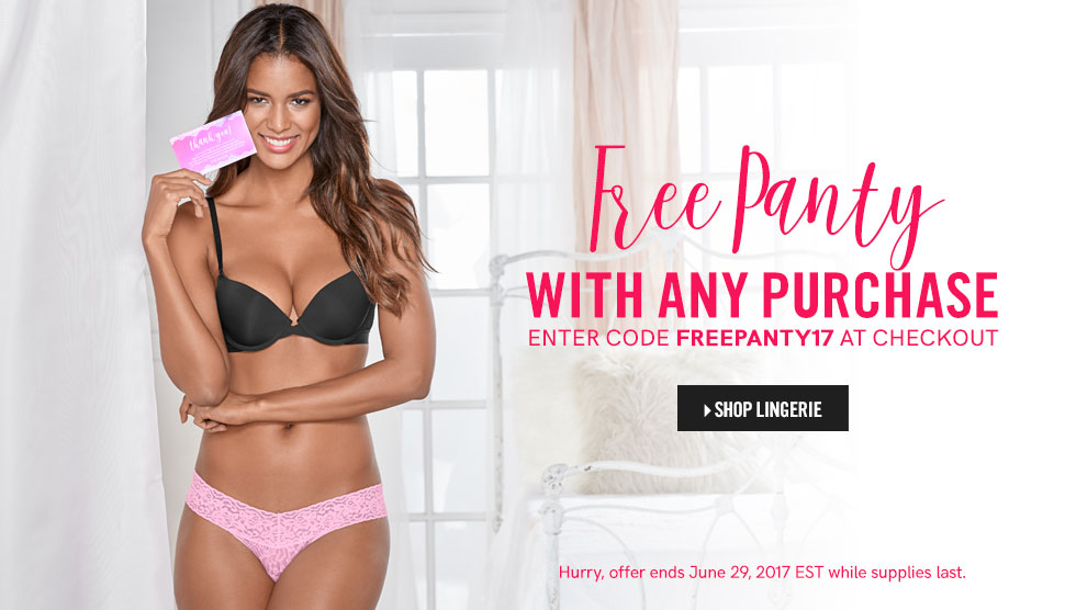 Free panty with any purchase! Shop lingerie