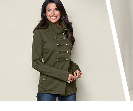 Green high neck military jacket.