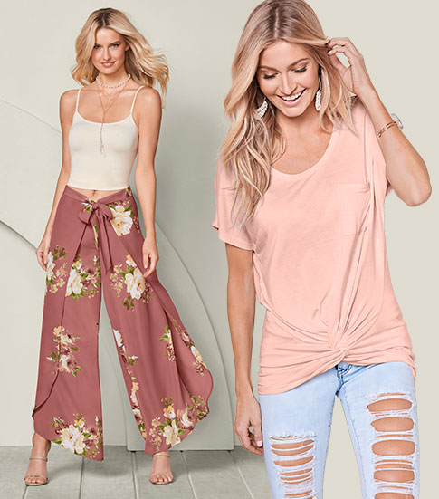 One woman wearing floral wide leg pants with a cami, and the other one a plain t-shirt with ripped jeans.
