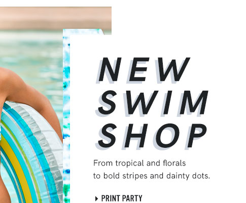 Shop swimsuits from tropical and florals to bold stripes and dainty dots.