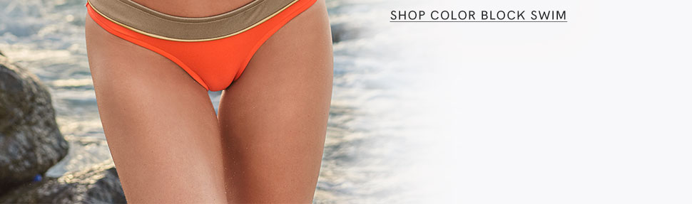 Try a color block swimsuit from VENUS.