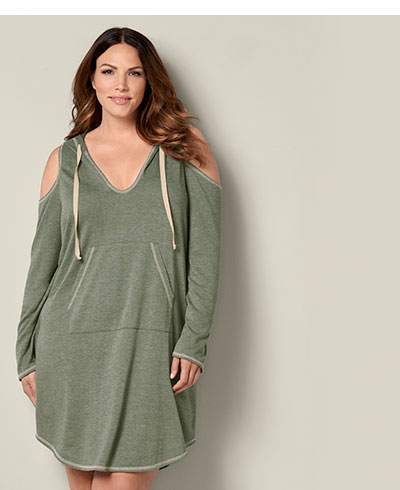 Relax in style with picks from our Plus Loungewear like this cute olive hooded Lounge Dress.