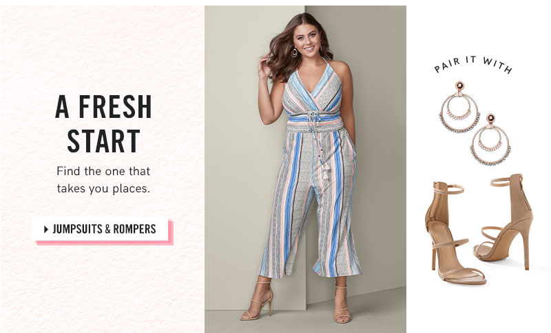 0cb02204c7bc Jump into style with a VENUS plus size jumpsuit or romper!