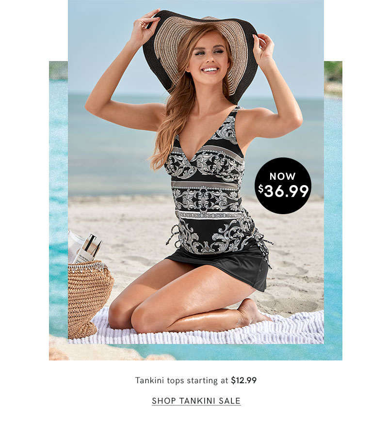 Hit the beach in a trendy tankini top from Venus today!