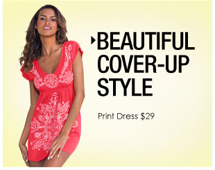 'Beautiful Cover-Up Styles. Print Dress Only $29' from the web at 'http://www.venus.com/productimages/landing/swimwear/20151112/print-dress.jpg'