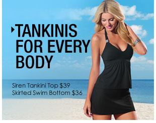 'Tankinis for EVERY body! Siren Tankini Top $39, Skirted Swim Bottom $36' from the web at 'http://www.venus.com/productimages/landing/swimwear/20151112/siren-tankini-top.jpg'