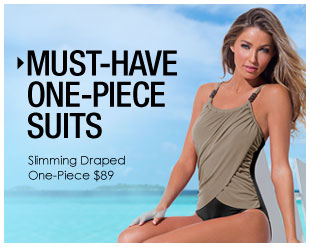 'Beautiful One-Piece Suits. Slimming Draped One-Piece $89' from the web at 'http://www.venus.com/productimages/landing/swimwear/20151112/slimming-one-piece.jpg'