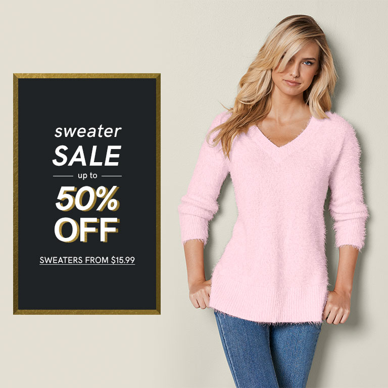 Sweater Sale. Up to 50% off.