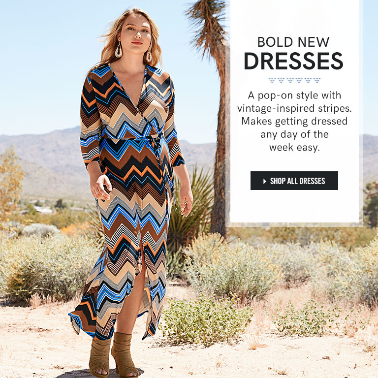 Bold new dresses. A pop-on style with vintage-inspired stripes. Makes getting dresses any day of the week easy.